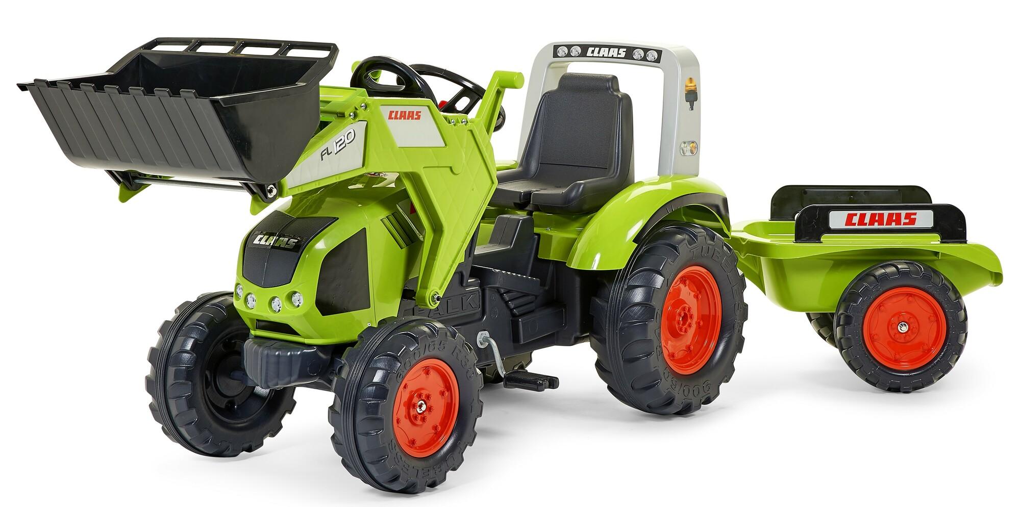 FALK Šliapací traktor 1011AM Claas Axos 330 s nakladačom a vlečkou