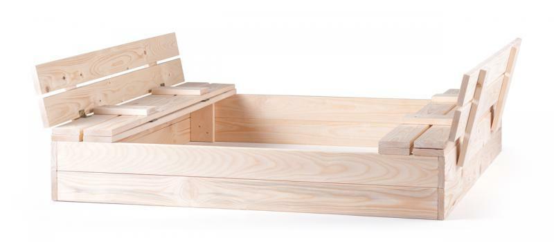 Pieskovisko drevené s krytom, s 2 lavicami, prírodné