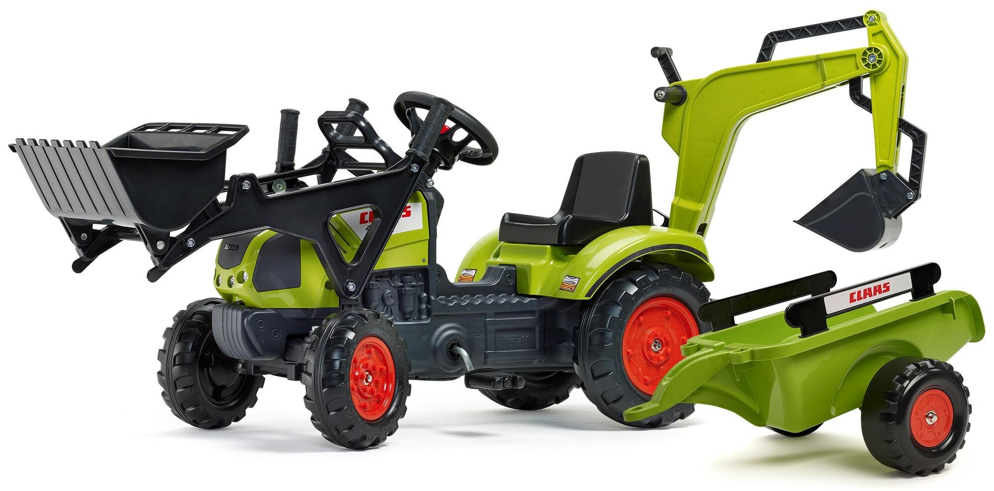 FALK Šliapací traktor 2040N Claas Arion 410 s nakladačom, rýpadlom a vlečkou