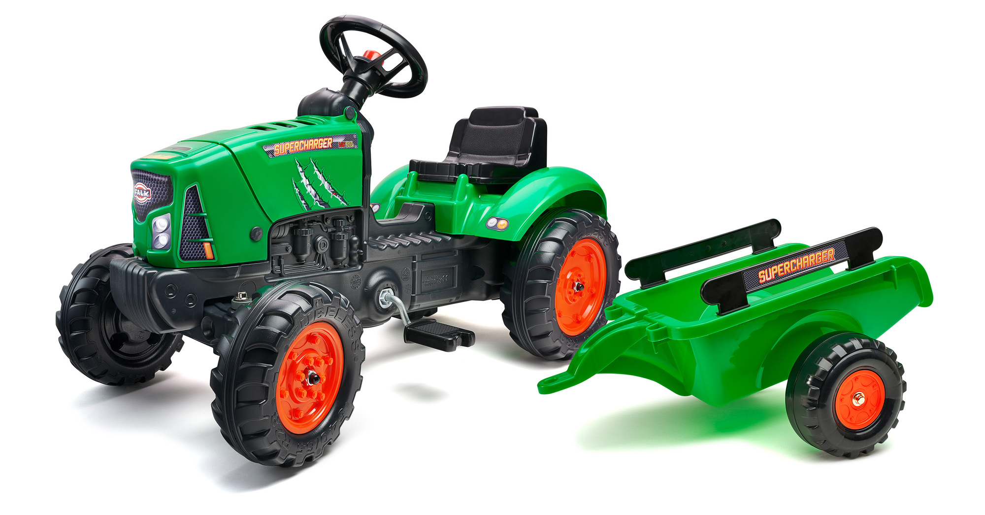 FALK Šliapací traktor 2031AB SuperCharger s vlečkou a otváracou kapotou