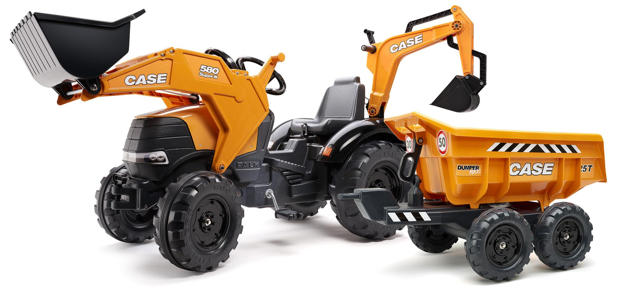 FALK Šliapací traktor 997W Case CE 580 Super N oranžový