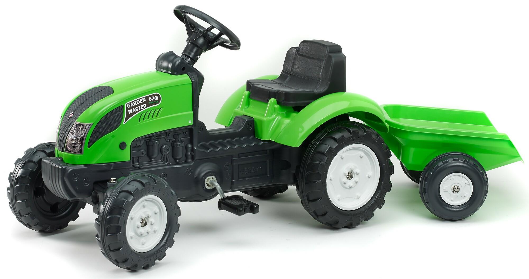 FALK Šliapací traktor 2057J Garden master zelený s vlečkou