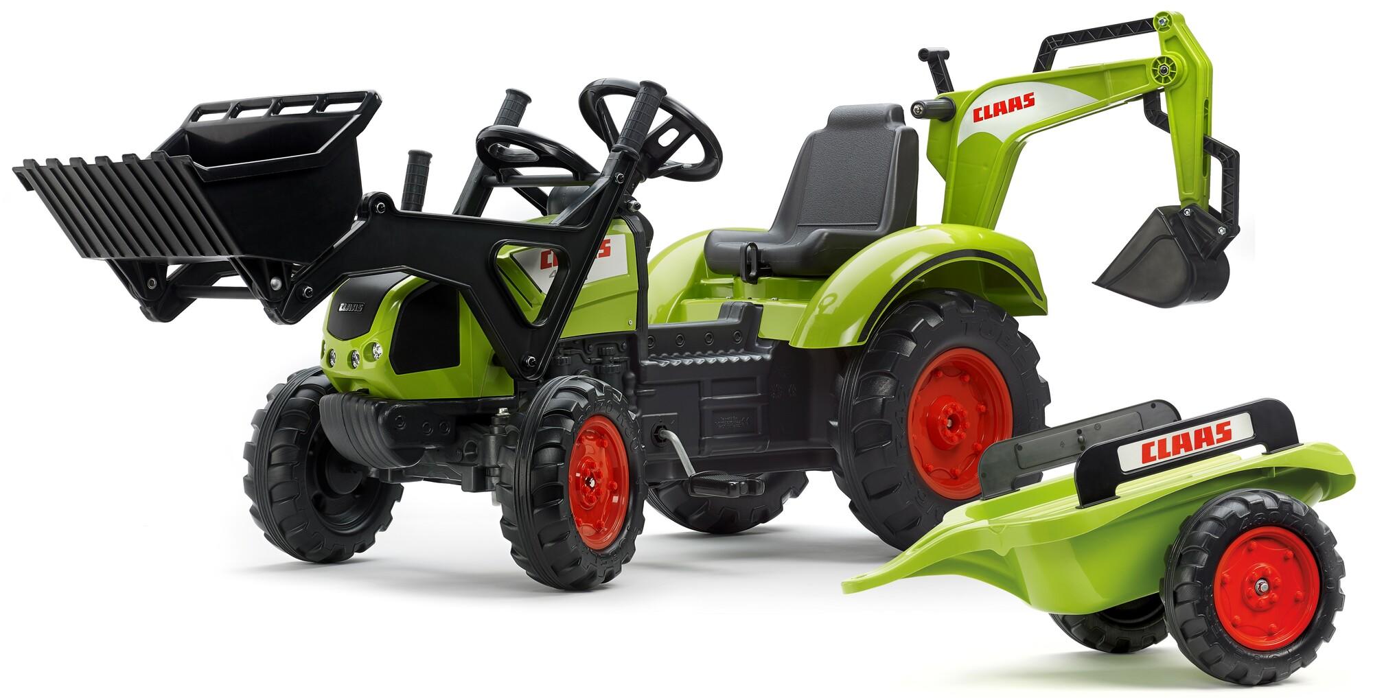 FALK Šliapací traktor 2070Y Claas Arion 430 s nakladačom, rýpadlom a vlečkou