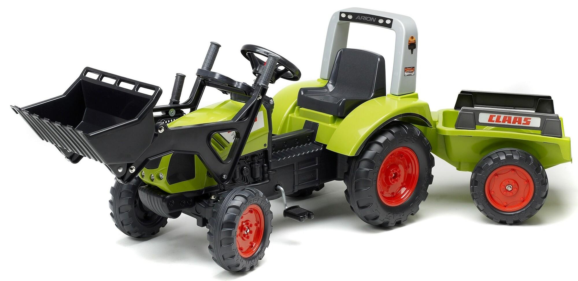 FALK Šliapací traktor 1040AM Clas Arion 430 s nakladačom a vlečkou