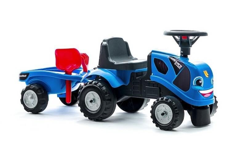 FALK Odrážadlo 250C Baby Landini modrý s vlečkou a lopatkou s hrabličkami