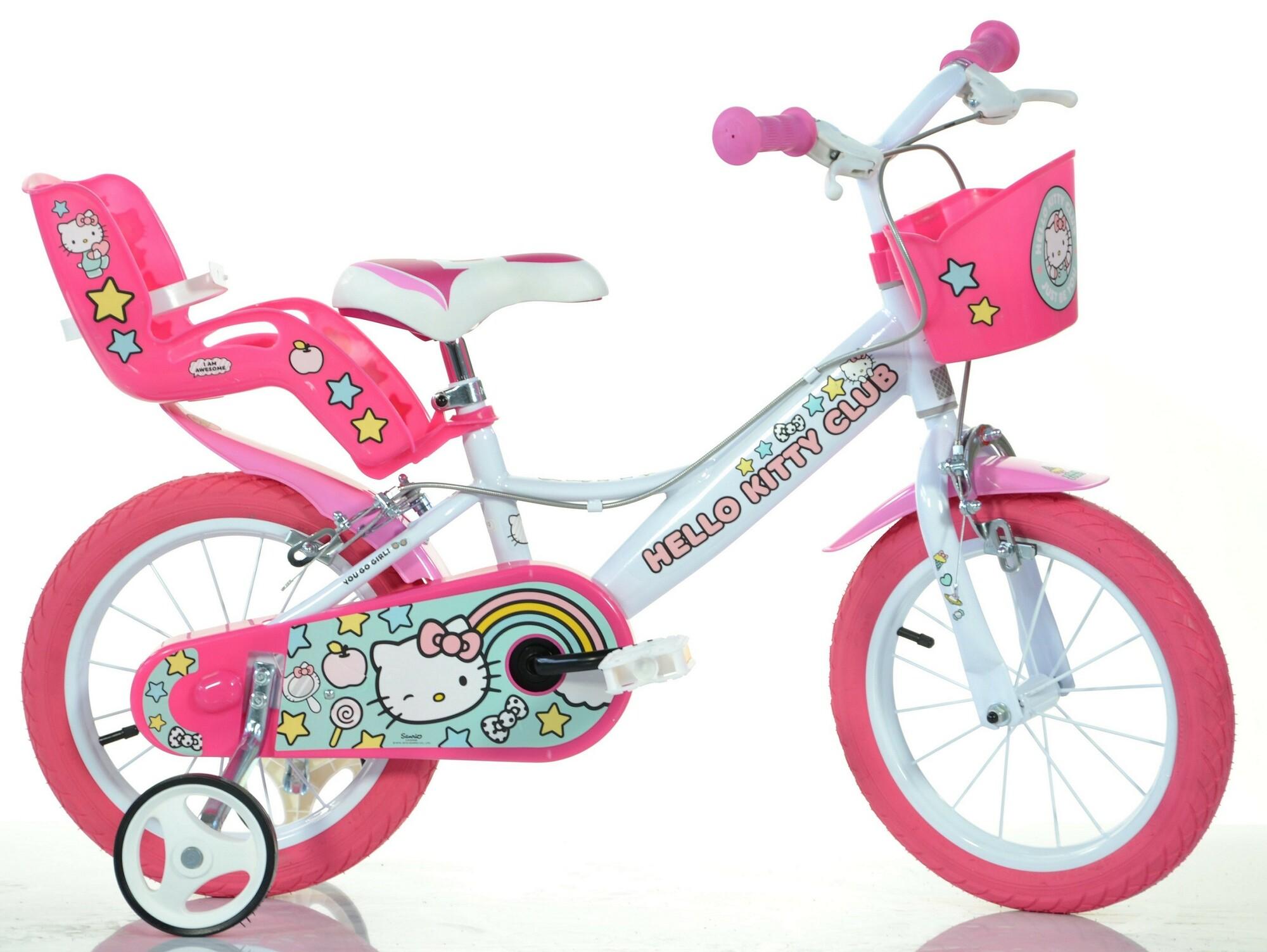 """DINO Bikes - Detský bicykel 14"""" 144RHK2 - Hello Kitty so sedačkou pre bábiku a košíkom"""
