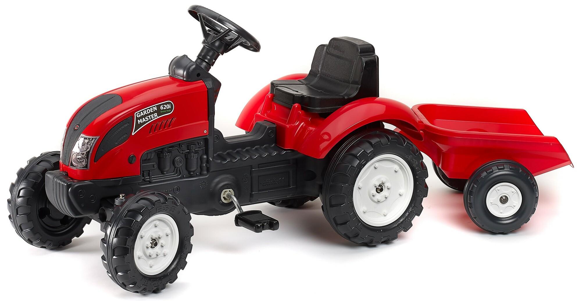 FALK Šliapací traktor 2058J Garden master červený s vlečkou