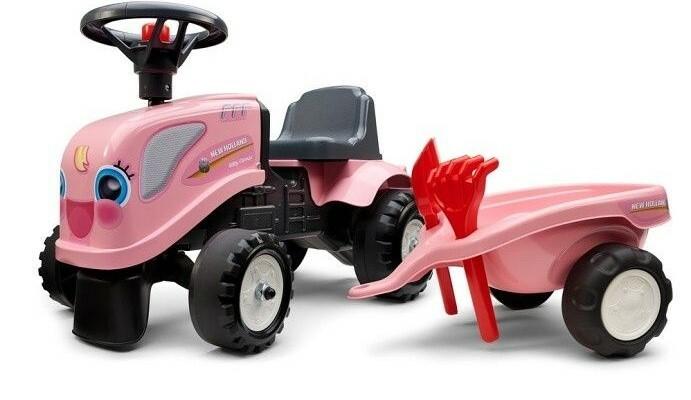 FALK Odrážadlo 288C Baby Girls New Holland T7 s vlečkou a lopatkou s hrabličkami